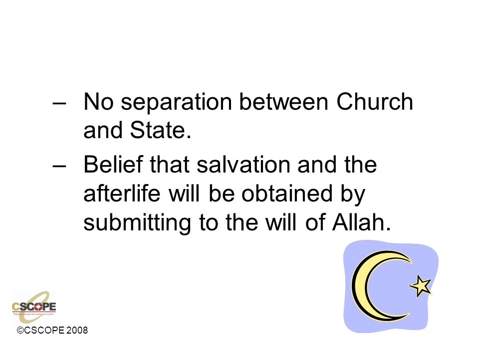No separation between Church and State.