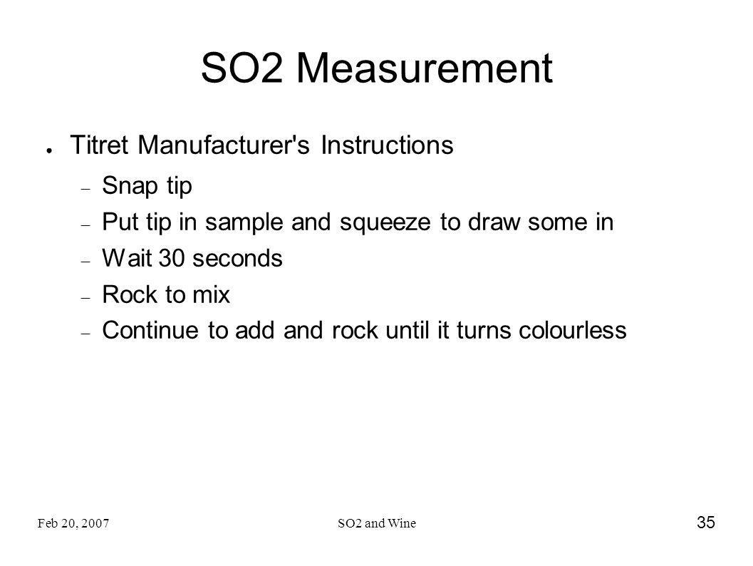 SO2 Measurement Titret Manufacturer s Instructions Snap tip