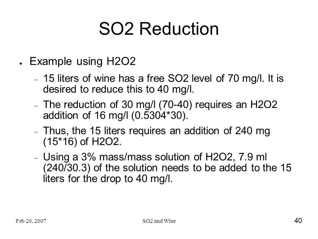 SO2 Reduction Example using H2O2