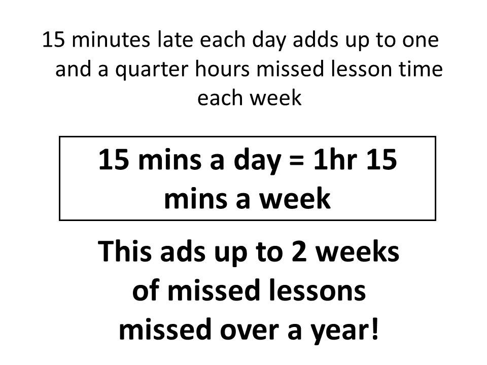 15 mins a day = 1hr 15 mins a week
