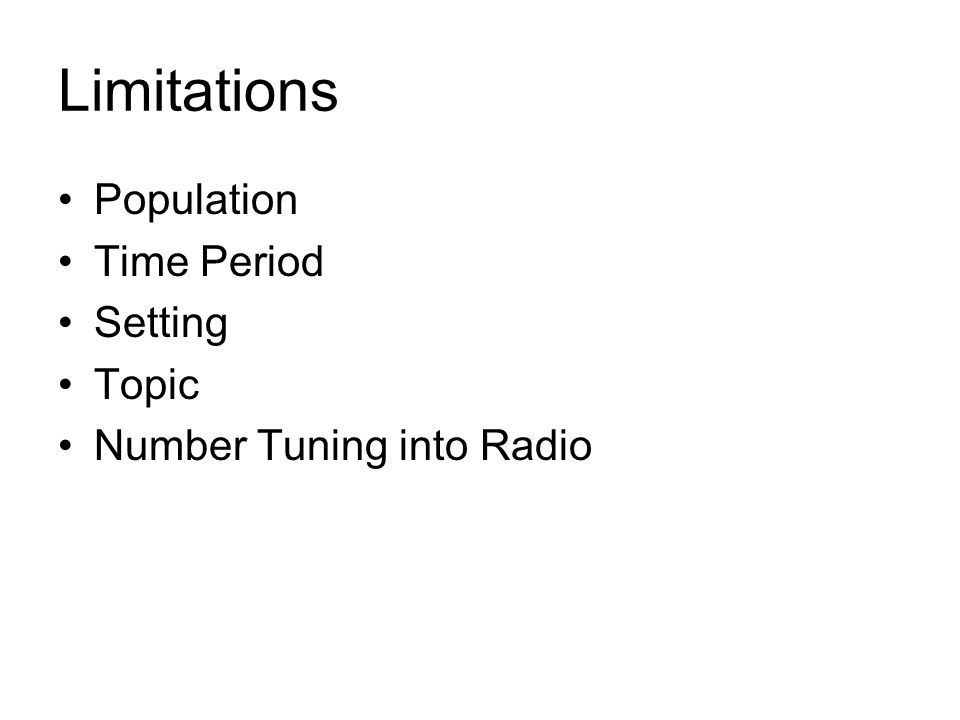 Limitations Population Time Period Setting Topic