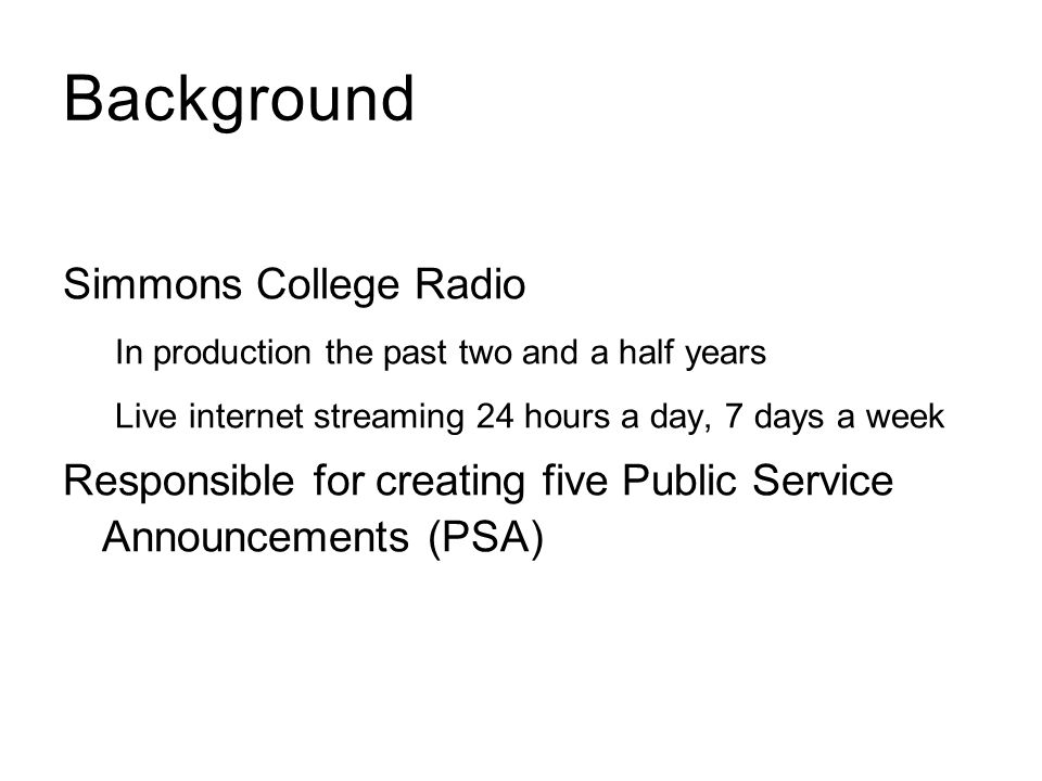 Background Simmons College Radio