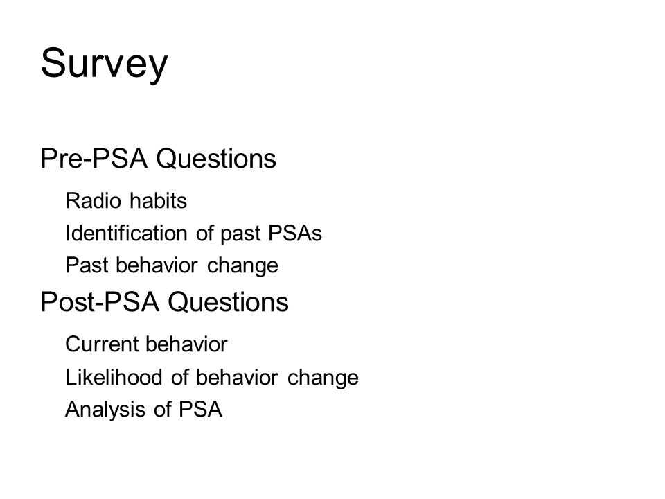 Survey Pre-PSA Questions Radio habits Post-PSA Questions