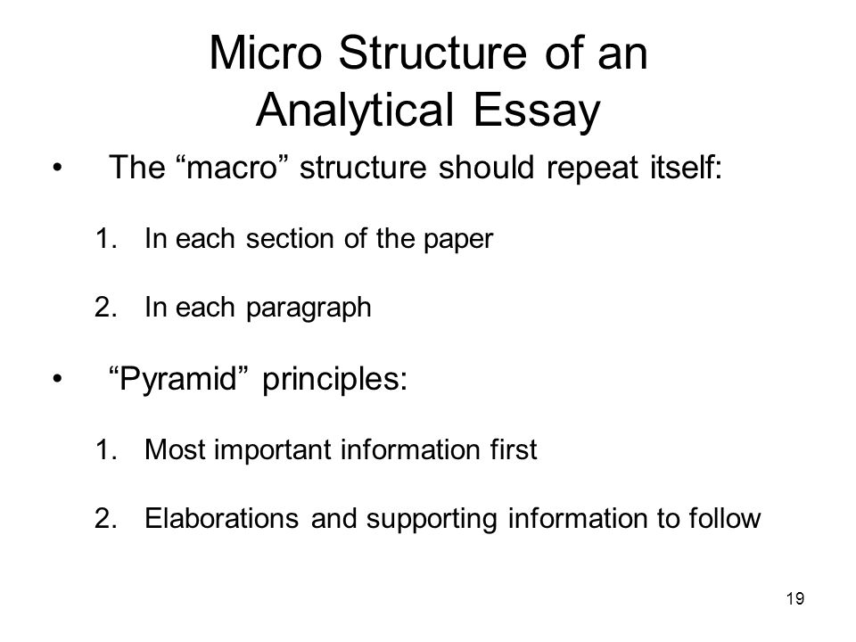 Micro Structure of an Analytical Essay