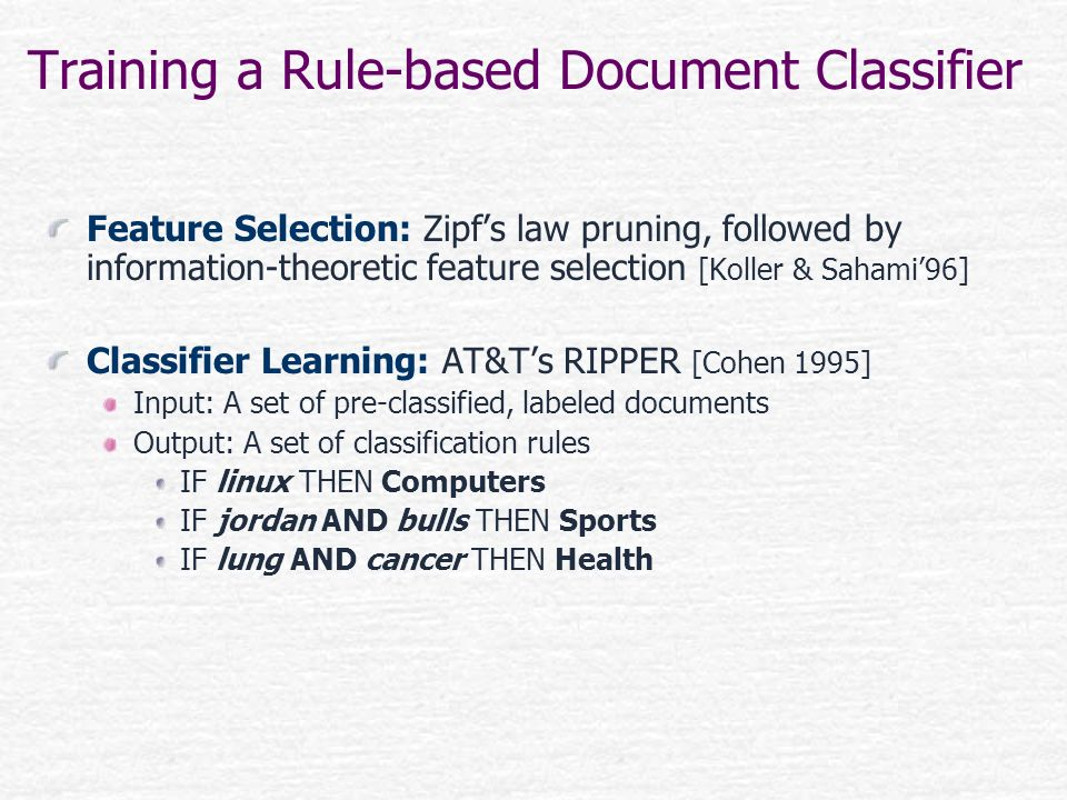 Training a Rule-based Document Classifier