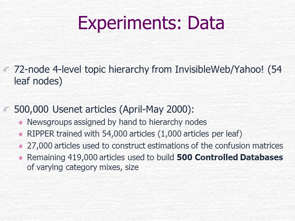 Experiments: Data 72-node 4-level topic hierarchy from InvisibleWeb/Yahoo! (54 leaf nodes) 500,000 Usenet articles (April-May 2000):
