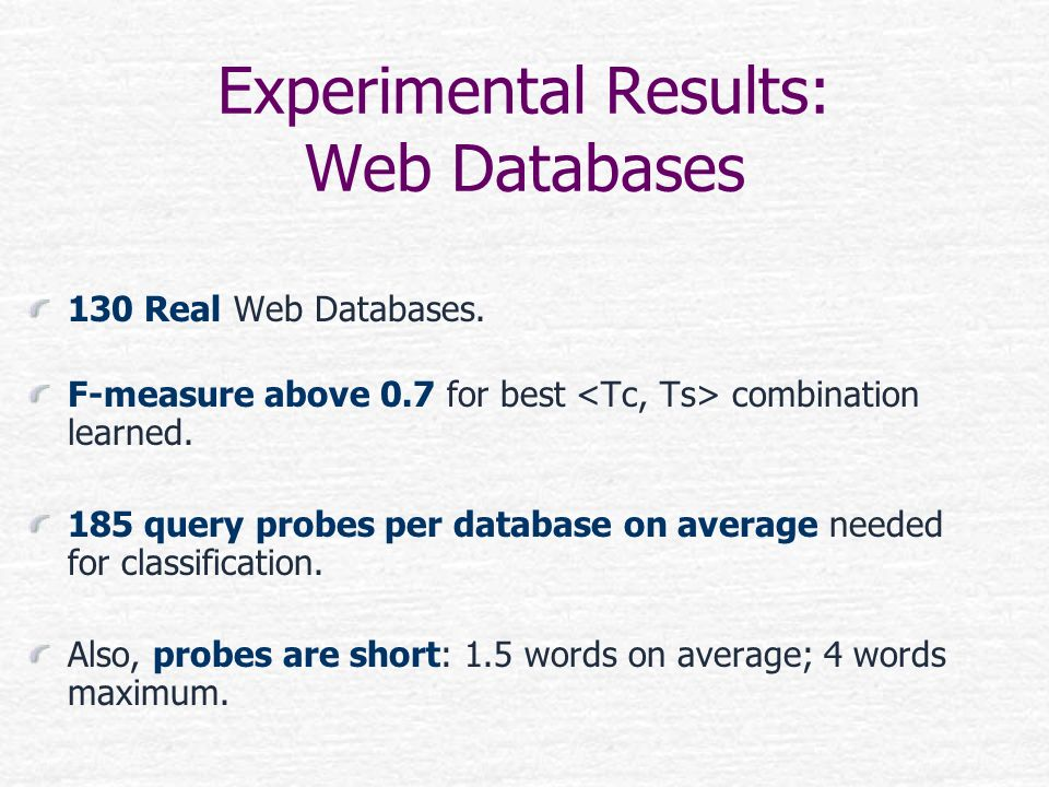 Experimental Results: Web Databases
