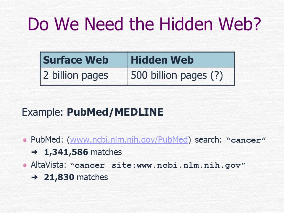 Do We Need the Hidden Web