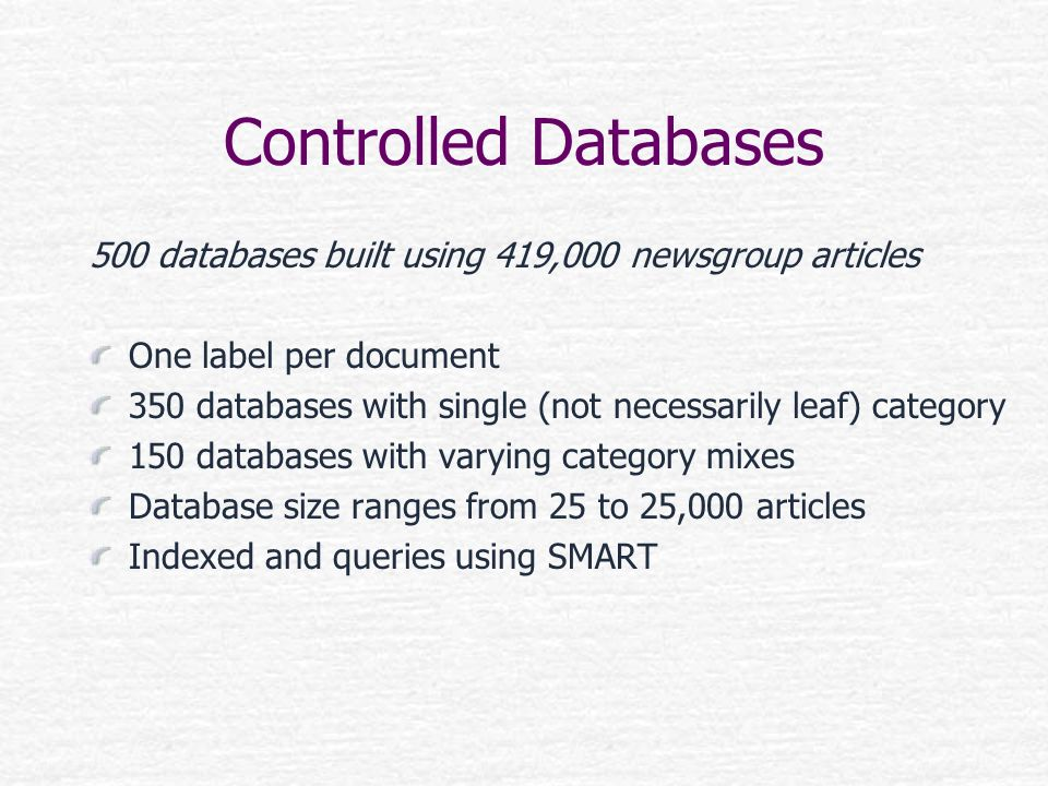 Controlled Databases 500 databases built using 419,000 newsgroup articles. One label per document.