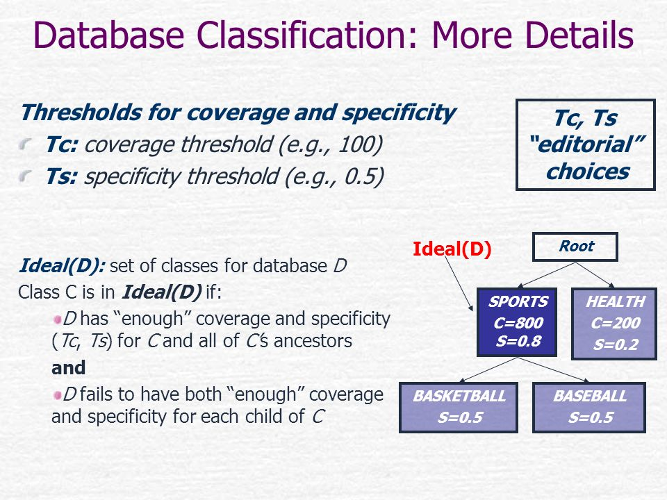 Database Classification: More Details