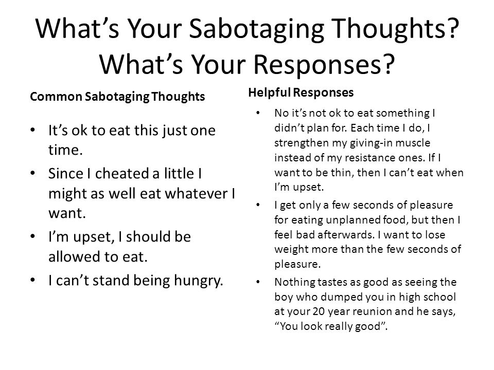 What's Your Sabotaging Thoughts What's Your Responses