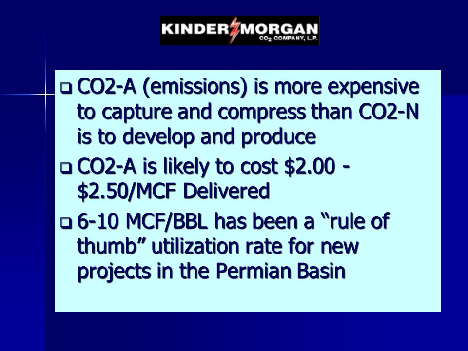 CO2-A (emissions) is more expensive to capture and compress than CO2-N is to develop and produce