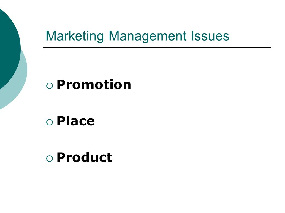 Marketing Management Issues
