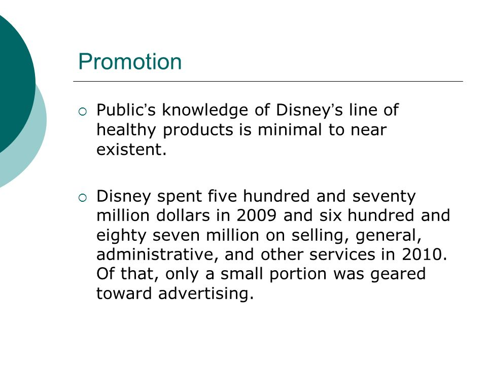 Promotion Public's knowledge of Disney's line of healthy products is minimal to near existent.