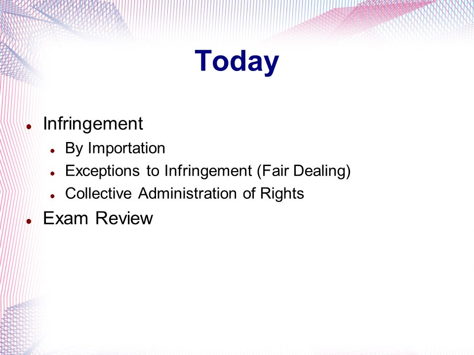 Today Infringement Exam Review By Importation
