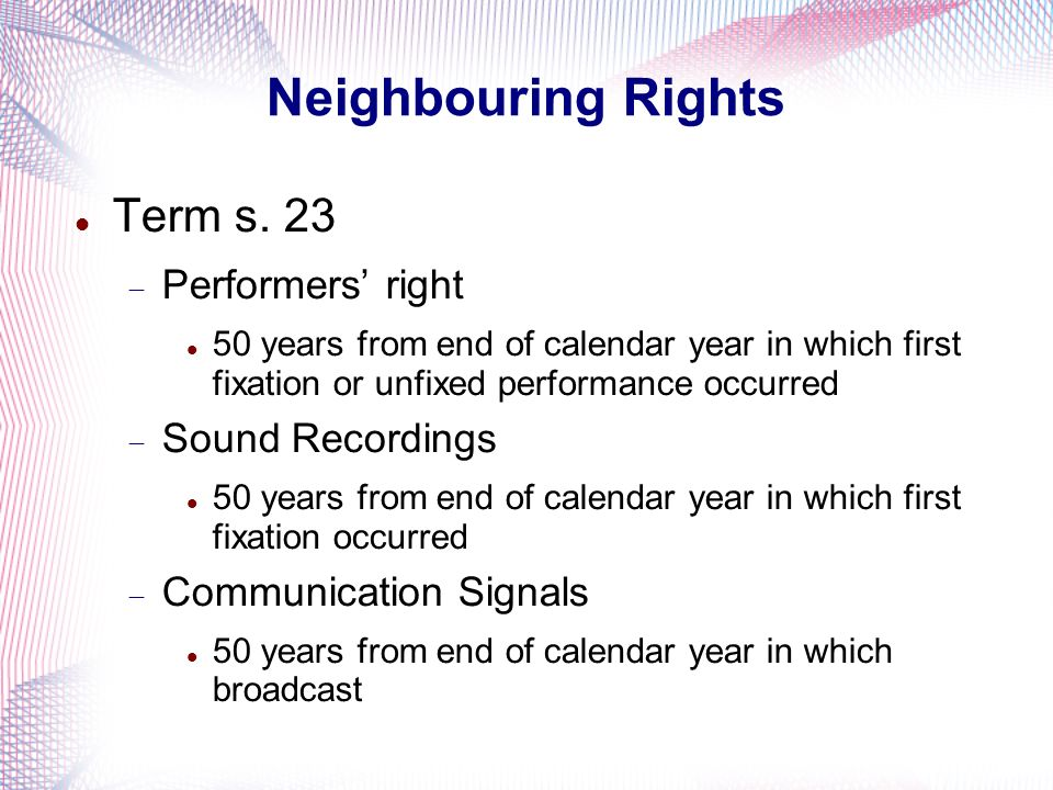 Neighbouring Rights Term s. 23 Performers' right Sound Recordings