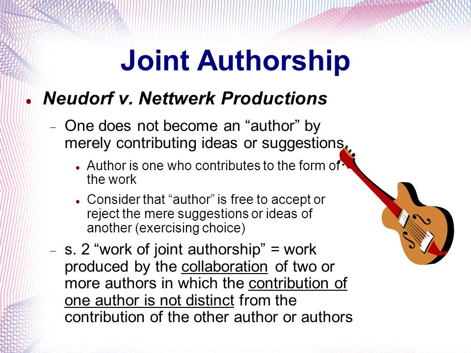 Joint Authorship Neudorf v. Nettwerk Productions