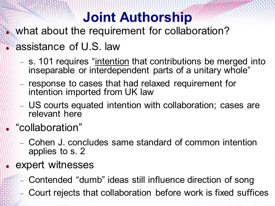 Joint Authorship what about the requirement for collaboration