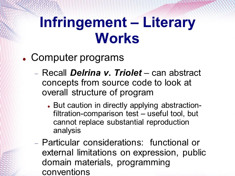 Infringement – Literary Works