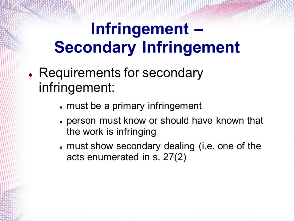 Infringement – Secondary Infringement