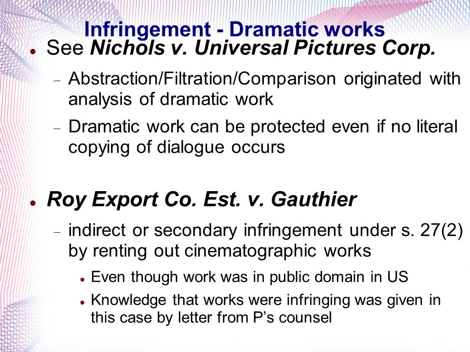Infringement - Dramatic works