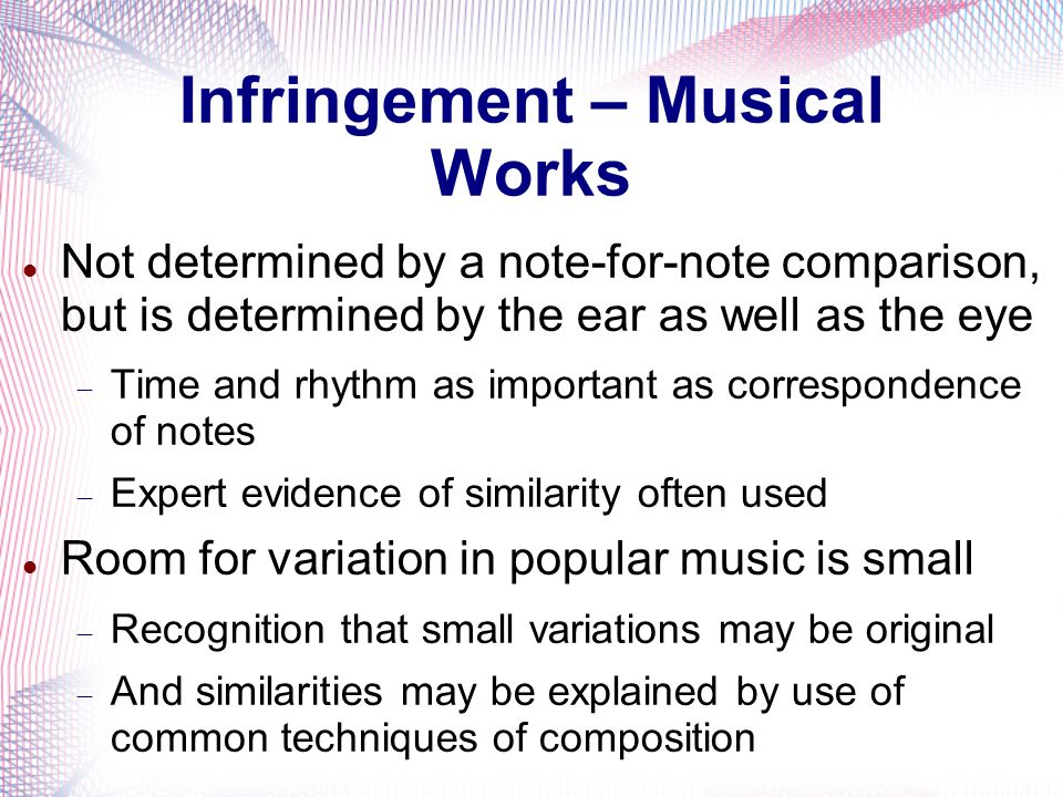 Infringement – Musical Works