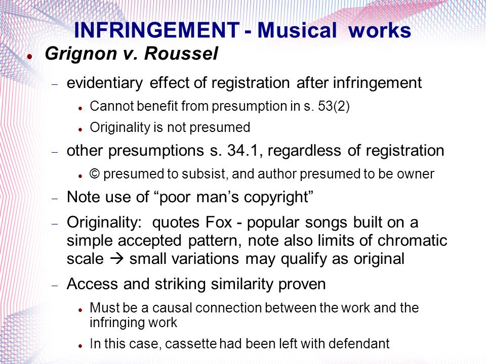 INFRINGEMENT - Musical works
