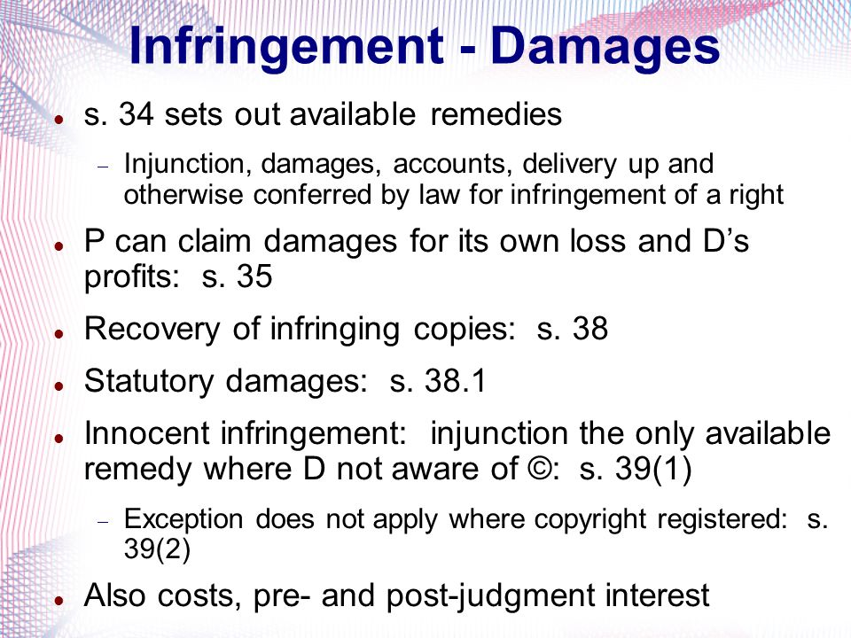 Infringement - Damages