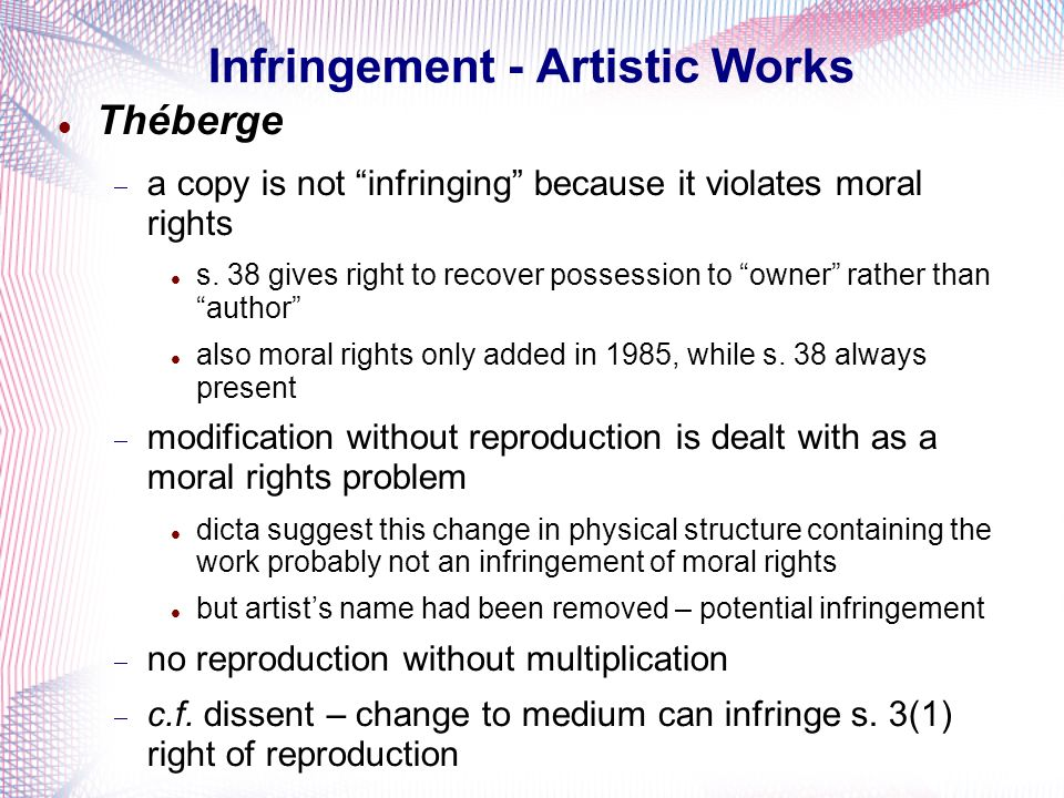 Infringement - Artistic Works