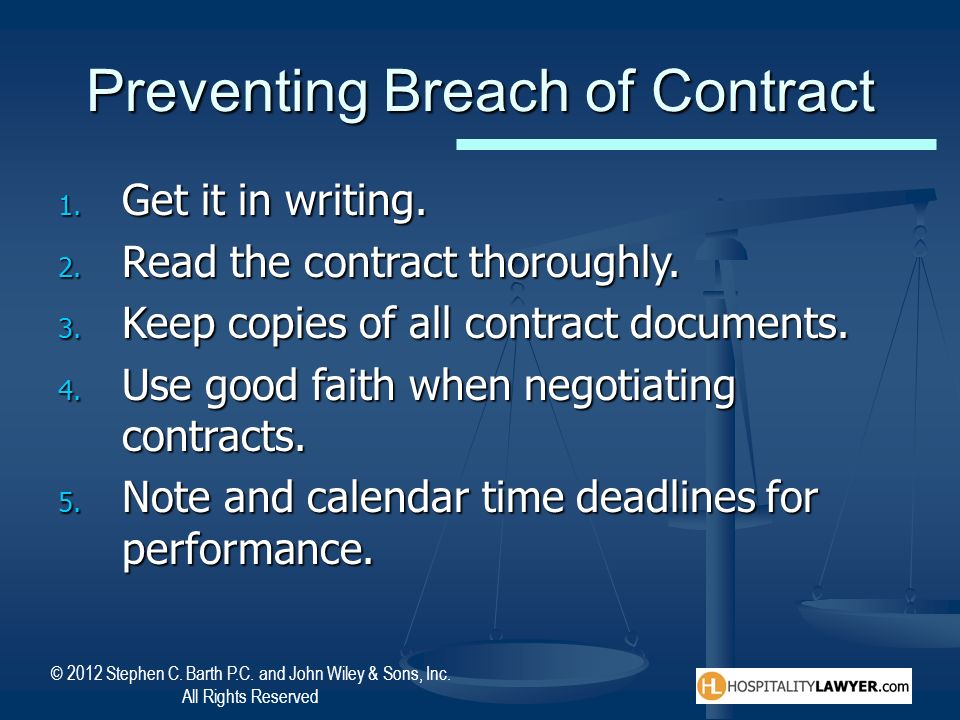 Preventing Breach of Contract