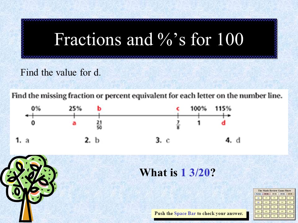 Fractions and %'s for 100 What is 1 3/20 Find the value for d.