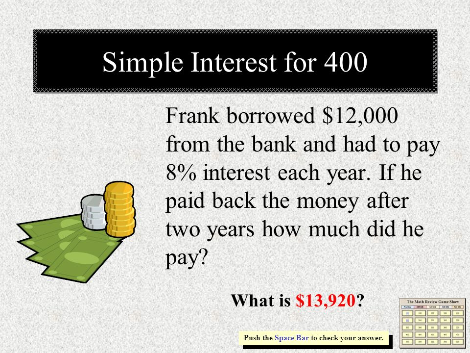 Simple Interest for 400
