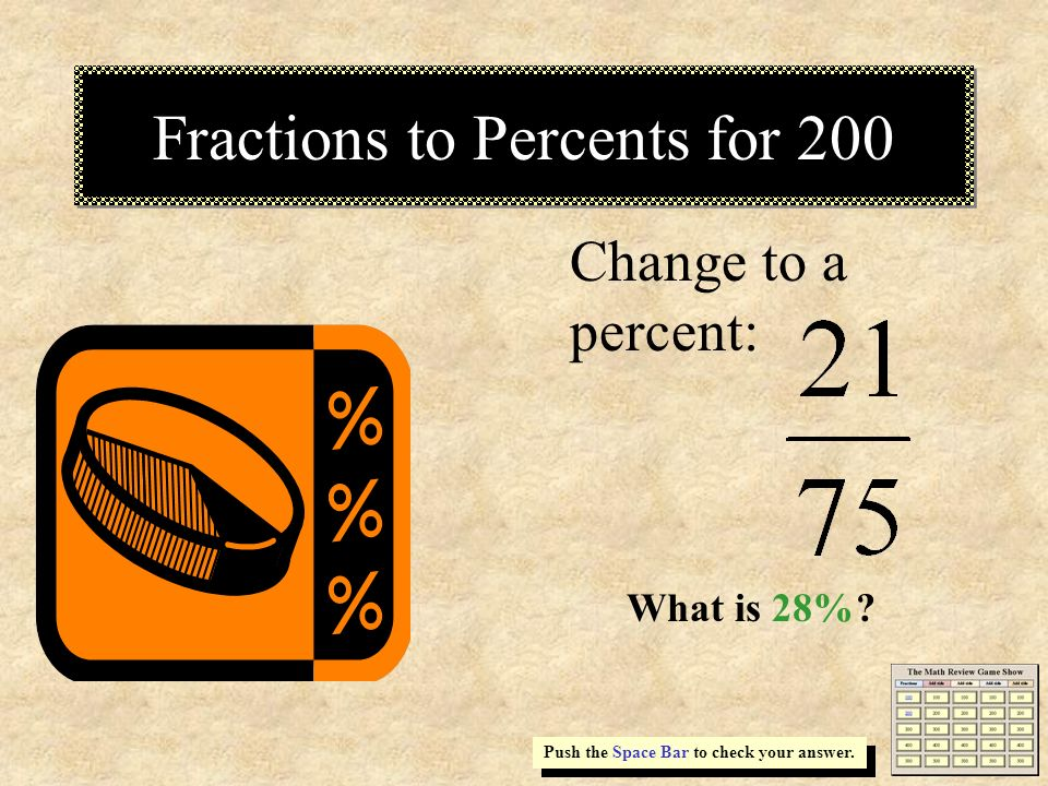 Fractions to Percents for 200
