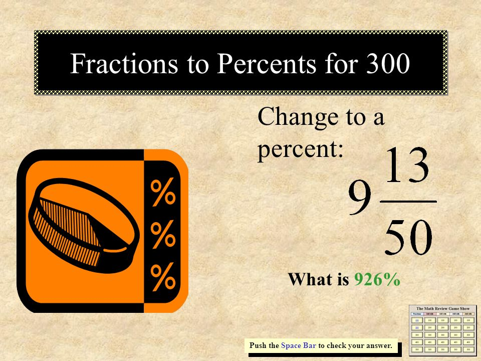 Fractions to Percents for 300