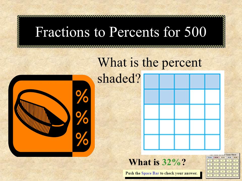 Fractions to Percents for 500