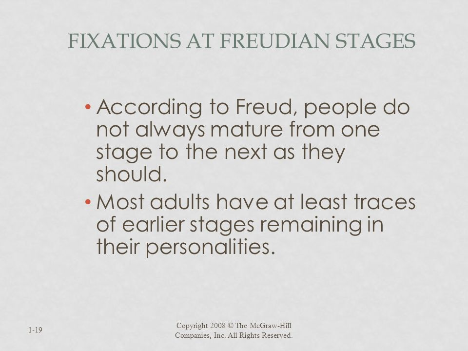 Fixations at Freudian Stages