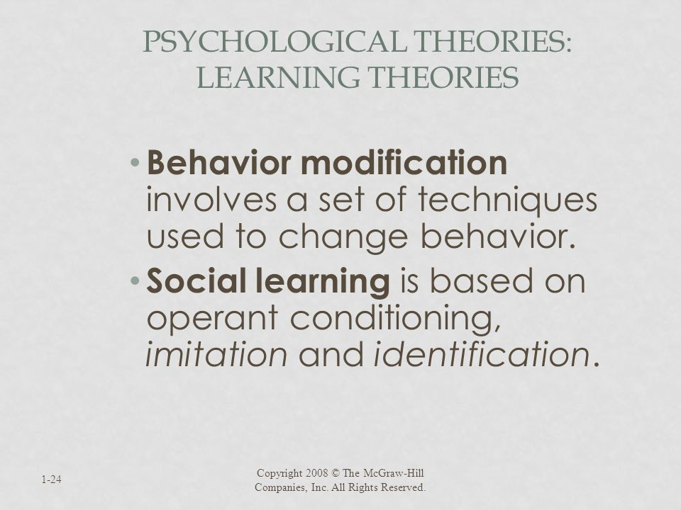 Psychological Theories: Learning Theories
