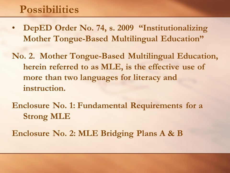 Mle In The Philippines History And Possibilities Ppt Video Online
