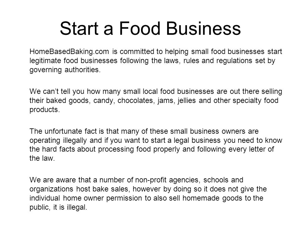 How to Start a Food Business in Canada ppt video online