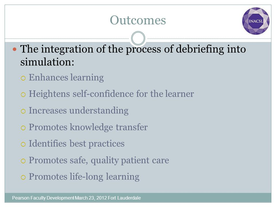 Outcomes The integration of the process of debriefing into simulation: