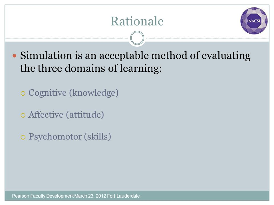 Rationale Simulation is an acceptable method of evaluating the three domains of learning: Cognitive (knowledge)