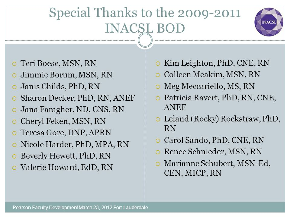Special Thanks to the 2009-2011 INACSL BOD