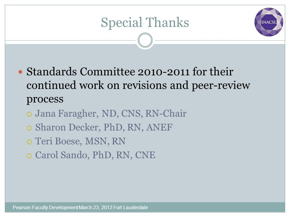 Special Thanks Standards Committee 2010-2011 for their continued work on revisions and peer-review process.