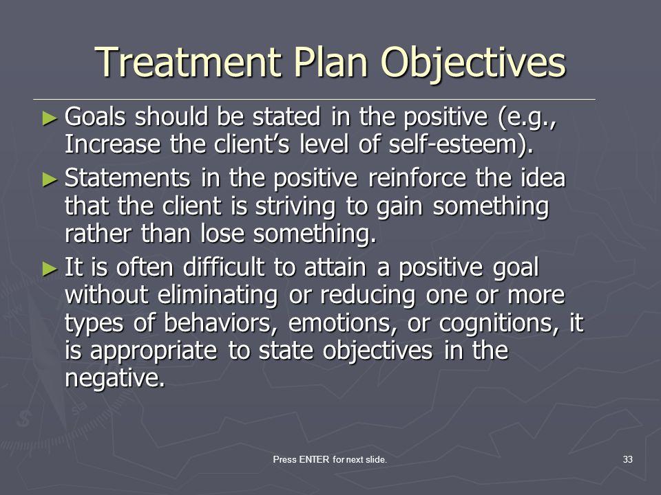 33 Treatment Plan Objectives