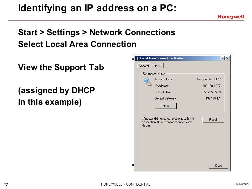 Identifying an IP address on a PC: