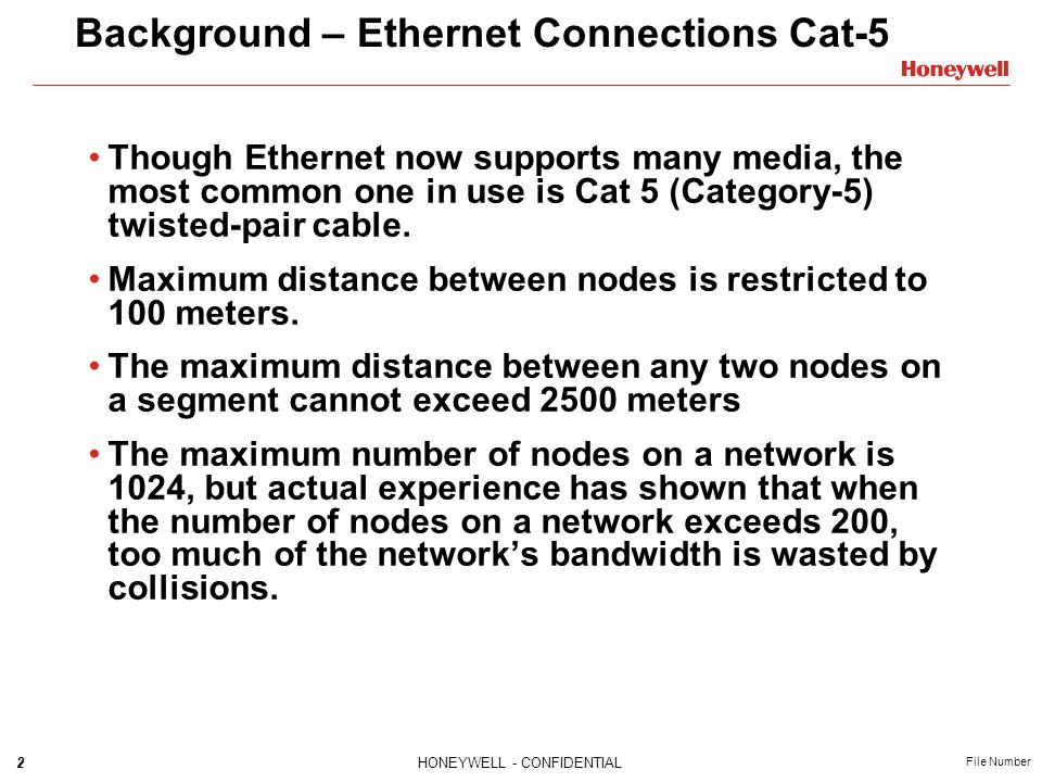 Background – Ethernet Connections Cat-5