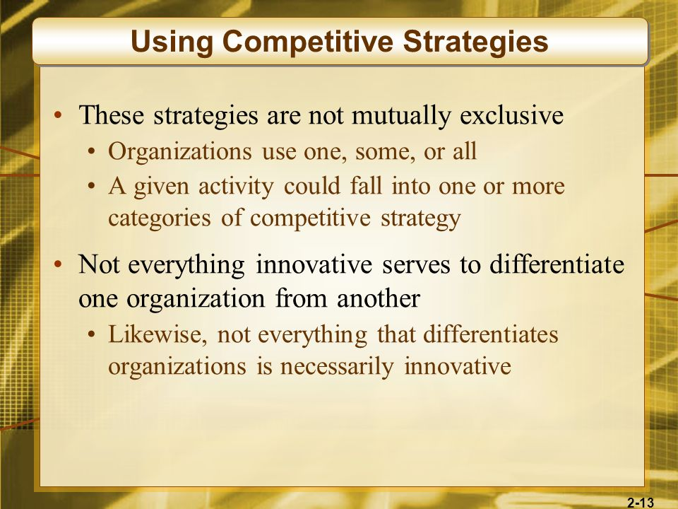 Using Competitive Strategies