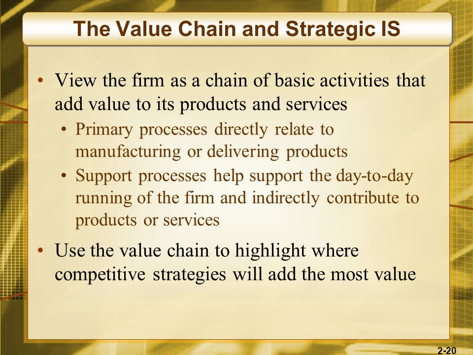 The Value Chain and Strategic IS