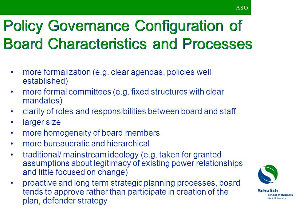 Policy Governance Configuration of Board Characteristics and Processes