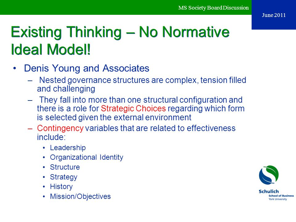 Existing Thinking – No Normative Ideal Model!